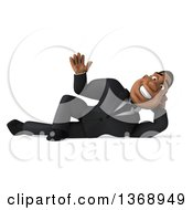 Clipart Of A 3d Handsome Black Businessman Resting On His Side And Waving On A White Background Royalty Free Illustration by Julos