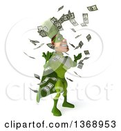 Clipart Of A 3d Green Caucasian Male Super Chef Making It Rain Money On A White Background Royalty Free Illustration