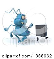 Clipart Of A 3d Blue Germ Virus Monster Chasing A Computer Tower On A White Background Royalty Free Illustration