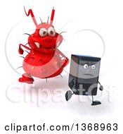 Clipart Of A 3d Red Germ Virus Monster Chasing A Computer Tower On A White Background Royalty Free Illustration