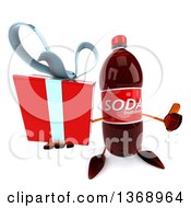Clipart Of A 3d Soda Bottle Character Holding Up A Gift And A Thumb On A White Background Royalty Free Illustration