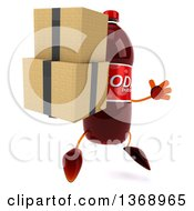 Clipart Of A 3d Soda Bottle Character Holding Boxes And Jumping On A White Background Royalty Free Illustration