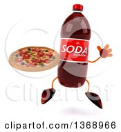 Clipart Of A 3d Soda Bottle Character Holding A Pizza And Jumping On A White Background Royalty Free Illustration