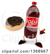 Clipart Of A 3d Soda Bottle Character Holding A Donut On A White Background Royalty Free Illustration