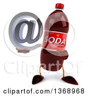 Clipart Of A 3d Soda Bottle Character Holding An Email Arobase At Symbol On A White Background Royalty Free Illustration