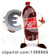 Clipart Of A 3d Soda Bottle Character Holding A Euro Symbol On A White Background Royalty Free Illustration