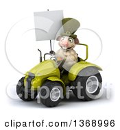 Poster, Art Print Of 3d Irish Sheep Operating A Tractor On A White Background