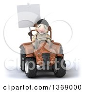Clipart Of A 3d French Sheep Operating A Tractor On A White Background Royalty Free Illustration