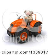 Clipart Of A 3d Sheep Operating A Tractor On A White Background Royalty Free Illustration