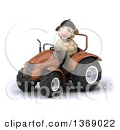 Poster, Art Print Of 3d French Sheep Operating A Tractor On A White Background