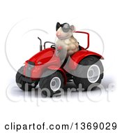 Poster, Art Print Of 3d Sheep Operating A Tractor On A White Background