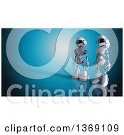 Clipart Of A 3d White And Blue Robot Couple On A Blue Background Royalty Free Illustration