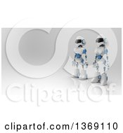 Clipart Of A 3d White And Blue Robot Couple On A Gray Background Royalty Free Illustration