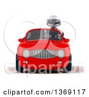 Clipart Of A 3d White And Blue Robot Driving A Convertible Car On A White Background Royalty Free Illustration by Julos