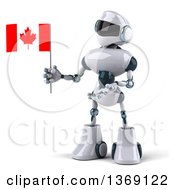 Clipart Of A 3d White And Blue Robot Holding A Canadian Flag On A White Background Royalty Free Illustration