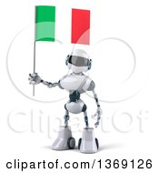 Clipart Of A 3d White And Blue Robot Holding An Italian Flag On A White Background Royalty Free Illustration