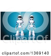 Clipart Of A 3d White And Blue Robot Couple On A Blue Background Royalty Free Illustration by Julos