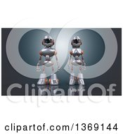 Clipart Of A 3d White And Orange Robot Couple On A Dark Background Royalty Free Illustration