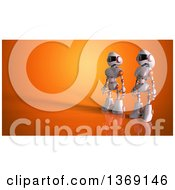 Clipart Of A 3d White And Orange Robots On Orange Royalty Free Illustration by Julos