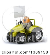 Clipart Of A 3d Red Robin Bird Operating A Tractor On A White Background Royalty Free Illustration