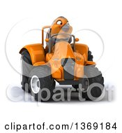 Poster, Art Print Of 3d Red Robin Bird Operating A Tractor On A White Background