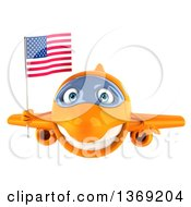 Clipart Of A 3d Orange Airplane Character Holding An American Flag On A White Background Royalty Free Illustration
