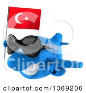 Clipart Of A 3d Blue Airplane Character Holding A Turkish Flag On A White Background Royalty Free Illustration