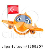 Clipart Of A 3d Orange Airplane Character Holding A Turkish Flag On A White Background Royalty Free Illustration