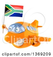 Clipart Of A 3d Orange Airplane Character Holding A South African Flag On A White Background Royalty Free Illustration