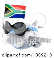 Clipart Of A 3d White Airplane Character Holding A South African Flag On A White Background Royalty Free Illustration