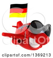 Clipart Of A 3d Red Airplane Character Holding A German Flag On A White Background Royalty Free Illustration