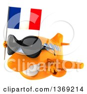 Clipart Of A 3d Orange Airplane Character Holding A French Flag On A White Background Royalty Free Illustration