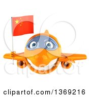 Clipart Of A 3d Orange Airplane Character Holding A Chinese Flag On A White Background Royalty Free Illustration