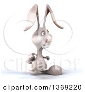 Clipart Of A 3d White Bunny Rabbit On A White Background Royalty Free Illustration