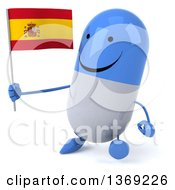 Clipart Of A 3d Happy Blue And White Pill Character Holding A Spanish Flag On A White Background Royalty Free Illustration