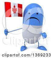 Clipart Of A 3d Unhappy Blue And White Pill Character Holding A Canadian Flag On A White Background Royalty Free Illustration
