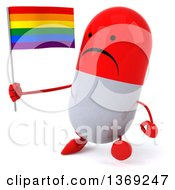 Clipart Of A 3d Unhappy Red And White Pill Character Holding A Rainbow Flag On A White Background Royalty Free Illustration