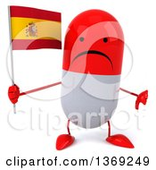 Clipart Of A 3d Unhappy Red And White Pill Character Holding A Spanish Flag On A White Background Royalty Free Illustration