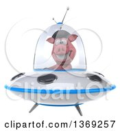 Clipart Of A 3d French Pig Flying A Ufo On A White Background Royalty Free Illustration