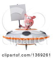 Clipart Of A 3d Pig Flying A Ufo On A White Background Royalty Free Illustration