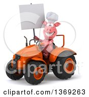 Poster, Art Print Of 3d Chef Pig Operating An Orange Tractor On A White Background