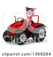 Poster, Art Print Of 3d Pig Wearing Sunglasses And Operating A Red Tractor On A White Background