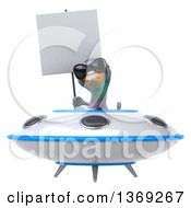 Clipart Of A 3d Pigeon Holding A Blank Sign And Flying A Ufo On A White Background Royalty Free Illustration