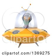 Clipart Of A 3d Pigeon Flying A Ufo On A White Background Royalty Free Illustration