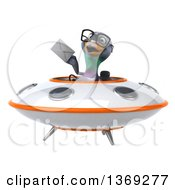 Clipart Of A 3d Pigeon Holding An Envelope Flying A Ufo On A White Background Royalty Free Illustration