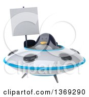 Clipart Of A 3d Penguin Holding A Blank Sign And Flying A Ufo On A White Background Royalty Free Illustration