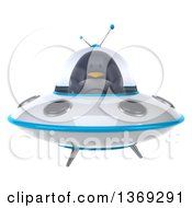 Clipart Of A 3d Penguin Flying A Ufo On A White Background Royalty Free Illustration