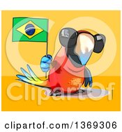 Clipart Of A Cartoon Scarlet Macaw Parrot Wearing Sunglasses And Holding A Brazilian Flag On A Yellow And Orange Background Royalty Free Illustration