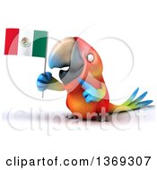 Clipart Of A 3d Scarlet Macaw Parrot Holding A Mexican Flag On A White Background Royalty Free Illustration