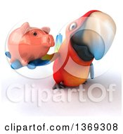 Clipart Of A 3d Scarlet Macaw Parrot Holding Up A Piggy Bank On A White Background Royalty Free Illustration
